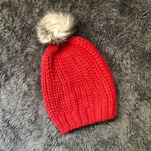 Red slouch beanie